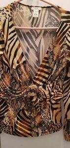 Cache Animal print top with beautiful rhinestone